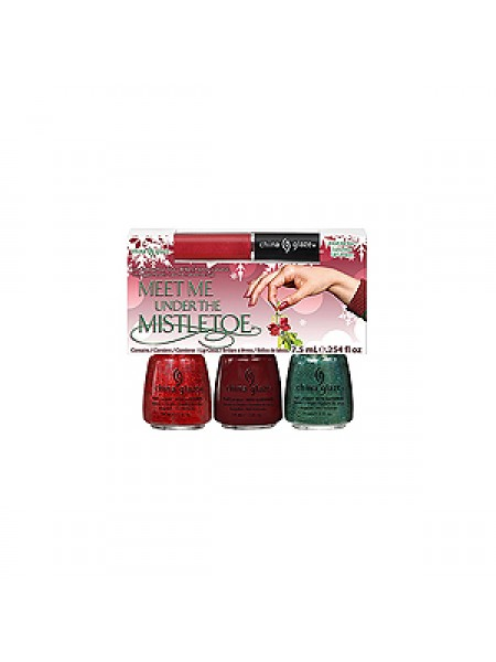 China Glaze Набор 3 лака: Ring in the Red, Velvet Bow, Glittering Garland + Блеск для губ (Let It Snow / Meet Me Under The Mistletoe) 81042 3*14 мл